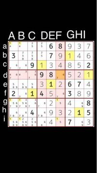 ナンプレde懸賞というアプリのナンプレです。NO883です。 ここからの理詰めで解き方が分かりません。 教えてください。