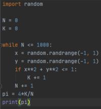 python 円周率の近似値について  pythonで円周率の近似値を求めるプログラムを書いたのですが、3.1台の数値が全く出ません。どこかおかしい点はありますか?