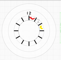 イラストレータ CS5 オブジェクトの分割? 方法  子供の学習用に1時間ごとに色分けされた時計の文字盤を作りたいと考えています。  添付のような感じで、ドーナツ状のスペースを1時間ごとに太い線で区切り、...
