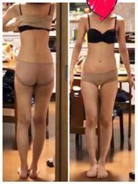 大学生です。画像の足について、 以下の回答をお願いします。  1.足は太いか、少し太いか。長さはどうか。 2.筋肉はついてきている足になっているか。 3.普通の女性は、内腿どうなっているのか。 (くっついてる人...