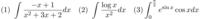 添付画像の不定積分と定積分の問題の途中式と解答が分かる方、回答お願いします。