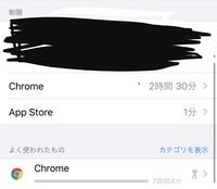 iphoneのスクリーンタイム機能でChromeを入れて制限したはずが制限時間(2時間30分)を超えても使えてしまいます。(パスコードを友人に設定してもらっており自分は知りません) 「常に許可」のと ころでは関連しそ...