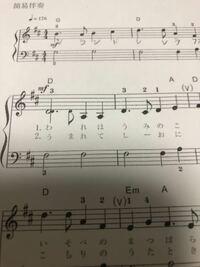 ピアノ、楽譜に詳しい方教えてくださいm(_ _)m 初心者なのですが楽譜がよくわかりません。こちらは「われは海の子」の楽譜なのですが最初の「われ(1番)」「うま(2番)」のところの音符が小さい気がします。何...