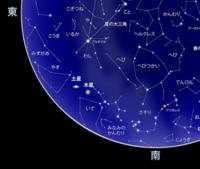 星座について 8月16日(日)夜7時ごろ、東南方向の空で目の水平方向を0度すると80度位の 所に星★が二点小さく光っていました。目での確認です。 星座詳しくないのですが、星座を見ると土星と木星ですか?