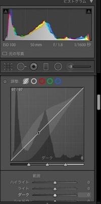 Lightroom Classic(ライトルームクラシック)のトーンカーブについて質問です。 最近始めた初心者なのですがユーチューブの解説動画を見ると自分の Lightroomのトーンカーブの表示が違います。  RGBのチャンネル表記な どがない状態です。  赤、青、緑のまるがそれぞれのチャンネルということなのでしょうか  設定か何かでしょうか  よろしくお願い致します。