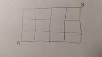 順列の問題です。解き方を教えてください。  図のような道のりにおいて,1回だけ逆走(下または左へ)を許したとき,AからBへ行くには何通りあるか。
