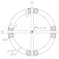幾何数学にお詳しい方に質問です。  下図でOを原点としたときの、点A,B,C,Dの座標を求めたいです。 網掛けの円(φ10)はφ100とφ80の円に内接する円で、 原点Oからそれぞれ2.5(5/2)ずつ逃げています。  点A...