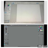 クリップスタジオについての質問です クリスタのペイントプロを購入したのですが起動してみると画像の上の写真のように白いメニューの状態になっていました 下の写真みたいに黒いメニューにしてWindowsのバーも非...