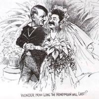 """この風刺画の意味って敵国同士だった独ソが唐突に不可侵条約結んで世界が吃驚し、こんなはずはないと思って""""どのくらい続くのか?""""ということを示唆しているのですか?"""