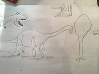 (小学生の絵)ディプロドクスの群れを書いてみました。近くにアロサウルスもいます。題名は「ディプロドクスとアロサウルス」です。 うまいですか?