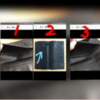 財布の使い方を教えてください。 大きさは長さが22.5㌢縦12㌢と普通の財布より一回り大きいです。 普通の財布は19㌢×9㌢です。 ②の財布なんですけど青色の矢印の所に何を入れるのかわかりません。(通帳が入る大き...