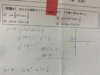 高校一年生 数1 二次関数です。(至急お願いします) (1)の頂点、軸はこれで合っていますか?  また、グラフはどう書くのでしょうか。