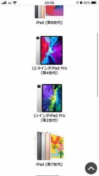 iPadProについて。 この写真にある11インチ iPadPro第2世代って 12.9インチiPadPro第4世代の大きさだけ変わったverですか?? それとも種類自体が違いますか? 分かりにくくてすいません。