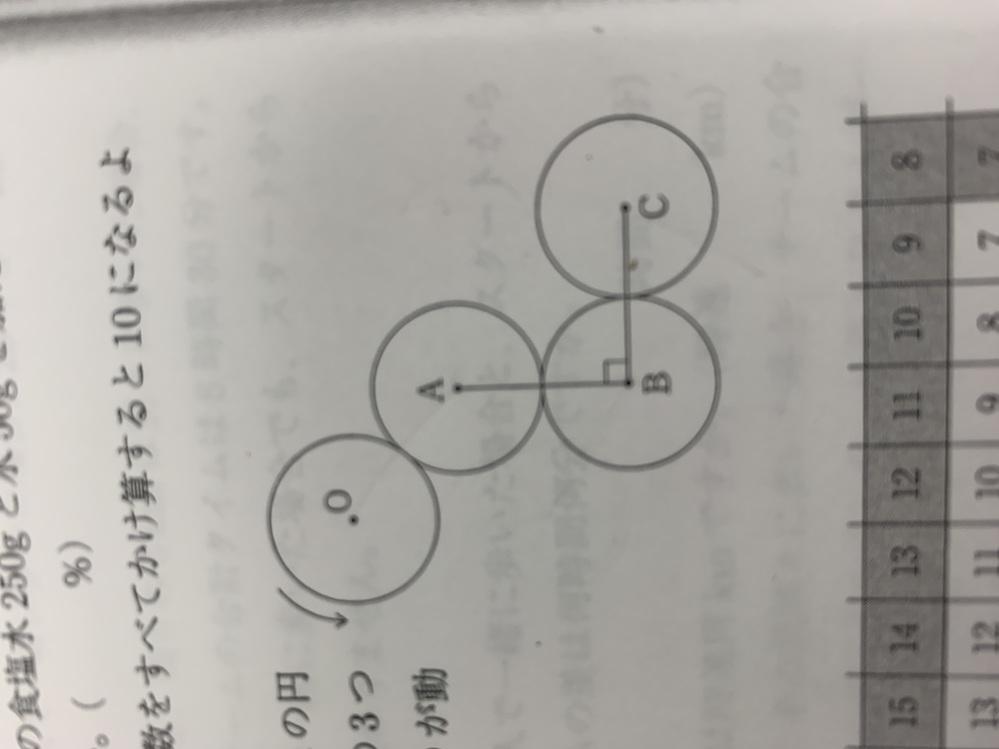 中学受験の問題です。 図のように、点O , A , B , C , を中心とする半径3㎝の円があり、角ABC = 90°である。点Oを中心とする円が、他の3つの円の周りを、すべることなく転がって...