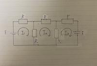 rを短絡とした時の回路図と,I1,I2,I3に関する網路方程式を教えてください。また、 rを開放した時の回路図と,I1,I2,I3に関する網路方程式を教えてください。  50コイン差し上げます