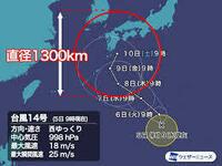 台風14号ですが京都市内及び滋賀県大津市は10日の土曜日は 電車が止まったり影響は有りそうですか?