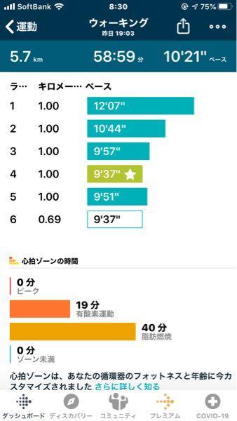 Fitbitでの測定結果ですが このペースでのウォーキングはどうですか? 1時間のウォーキングを週5回目標にしています。 30歳女性60kg、ダイエット目的です。
