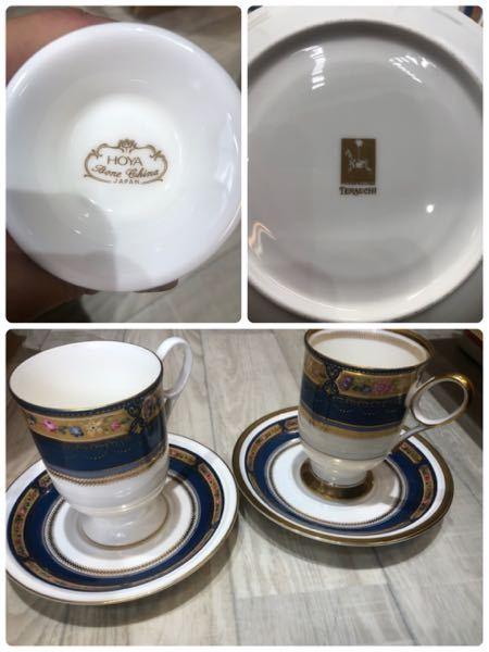 食器棚に大量に食器があり、整理をしているのですが、そこでふと疑問に思った事があったので質問させてください。 デザインがとても良く似ているカップ&ソーサーがあるのですが、ひとつはHOYAでもうひと...
