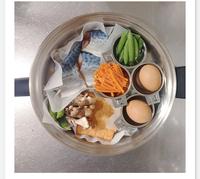 お弁当作りの際フライパンで何品も作る時短方法で作りたいのですがこの写真にのってる ステンレスのカップの商品名わかる方いますか?フライパン同時調理などで検索してもいまいちわからず。。。 わかる方教えて...