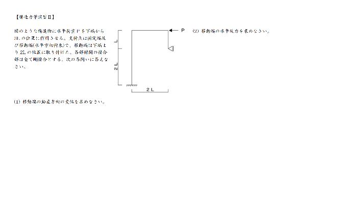 構造力学です。解き方を教えてください。よろしくお願いします。