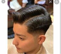 髪の毛について 今の髪型はフェードの7.3分で写真のような感じです。 ここからマンバンヘアにしたいのですが髪の毛を伸ばしていくにつれて手入れなど美容院の方になんて頼めばいいでしょうか。