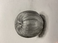 りんごのデッサンをしたのですが、リンゴに見えません。まずどこから直していけばいいのでしょうか・・・。 どなたかアドバイスをお願いします。  30分で3Bの鉛筆と消しゴムを使って描きました。