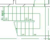 平面図について。 階段のCAD制作で階段レイヤーと見えがかりレイヤーと、上部見えがかりレイヤーに分けなければなりません。この図だと、どこの線が見えがかりレイヤーでどこの線が上部見えがかりレイヤーなのでしょうか? よろしくお願いします。