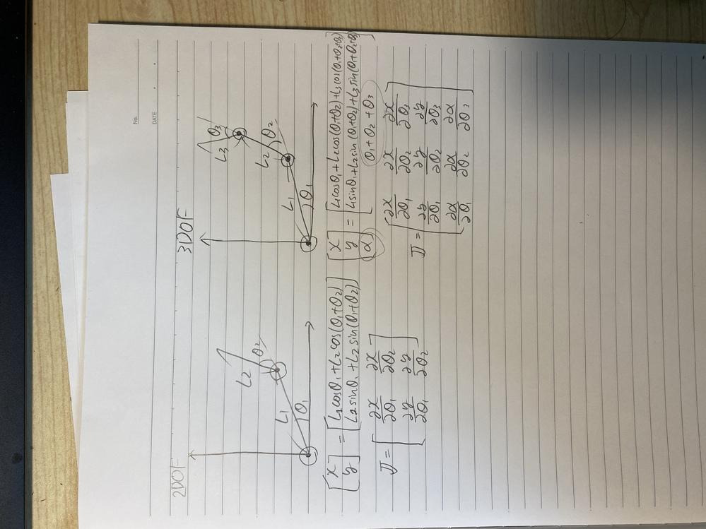 3自由度のロボットアームのヤコビアンについて 3自由度のロボットアームのヤコビアンを求める際のパラメータでとある書籍にα=θ1+θ2+θ3とありました.(下の画像で〇で囲んである場所) ここで疑...