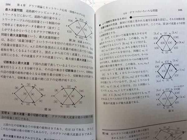 最大フロー問題のラベリング法がよく分かりません、調べても詳しく書いてあるのは残余ネットワーク法だったのでラベリング法について詳しく教えてください!画像の右側はラベリング法を説明していると思うので...