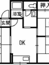このダイニングキッチンでおすすめのレイアウト教えてください。 左右は和室になっていて入り口になっいるので壁がありません。 DKは六畳です