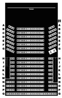 下の映画館の座席表のH列15(H列は他がもうほとんど埋まってしまっているため)か、G列の真ん中あたりだったら、どちらの方が見やすいですか?