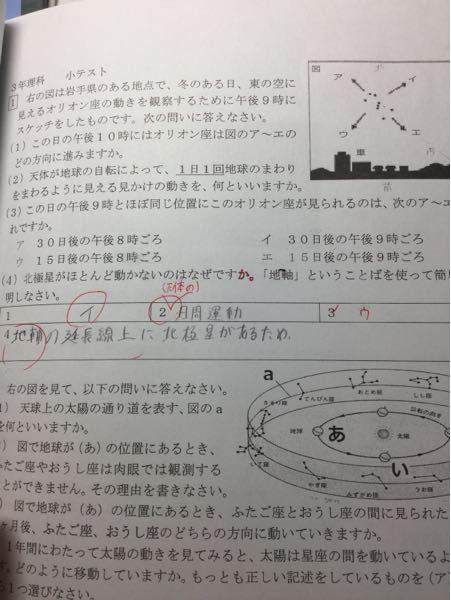 (3)はどうやって解くのですか?答えはウです。 また、上の図に私が書き込んだ方位はあっていますか?
