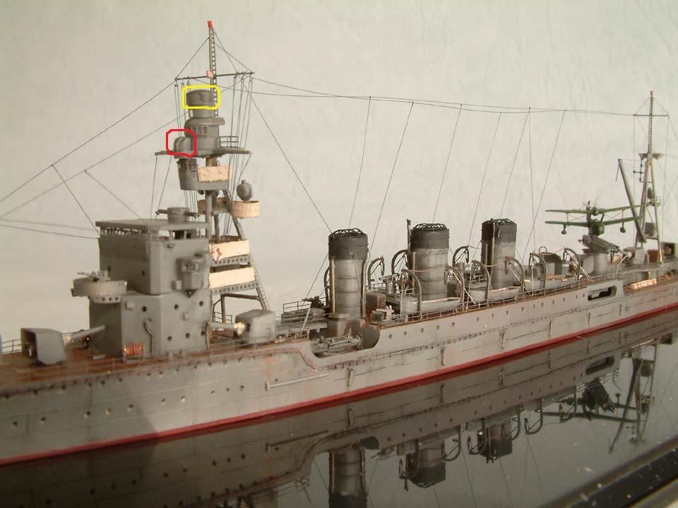 軽巡洋艦の鬼怒について、添付画像の赤枠内と黄色枠内の構造物は何なのでしょうか? 一応、赤枠側の方は機銃射撃指揮装置に似ている気がするのですが https://www.ms-plus.com/63...