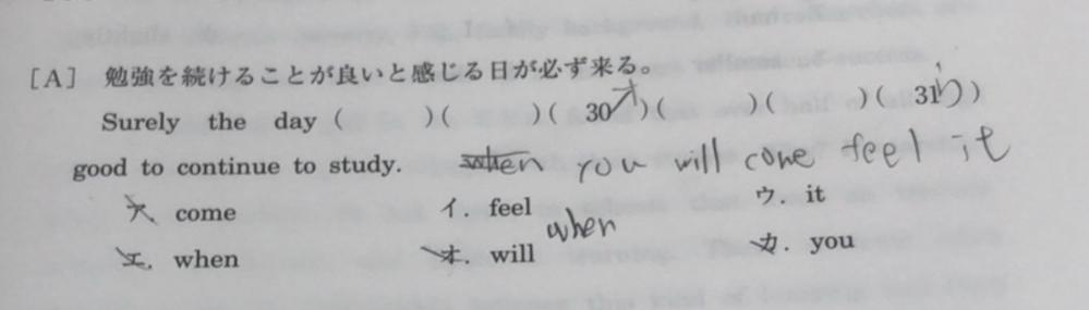 自分の回答に少し違和感感じています when you will come feel it という順は正しいですか?
