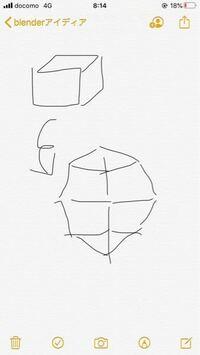 blenderの質問 絵が下手くそですみません 立方体を八面体?に一発で変換するのは どうやったらいいですか(>_<) 人物の顔のモデリングで基本になる図形です