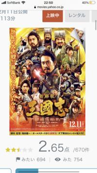 映画「新解釈 三國志」は、レビューサイトでの評価が異様に低いですが、初動動員は鬼滅と張り合うレベルで好調です。 やっぱり福田監督をネガキャンしてる連中が多いってことなんですかね?