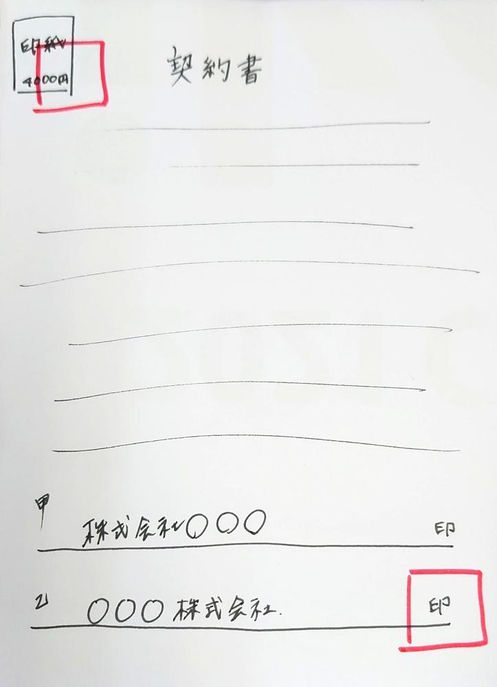 契約書に角印を… 質問失礼します 会社で契約書を記入した際に間違えて会社実印ではなく、角印を押してしまいました 押して数秒後に気づき、真っ青になりました しかも印紙と会社名の後の2箇所に…!