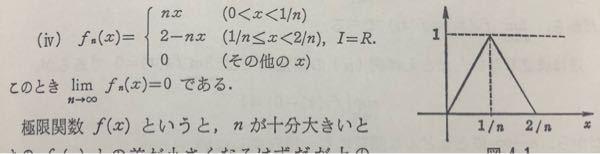 各点収束の初歩的な疑問なんですが画像の関数で1を取るとこが0に収束するのは何故ですか またf_n(1/n)とすれば1に収束すると思ったんですが なぜこの考え方では間違いなのですか