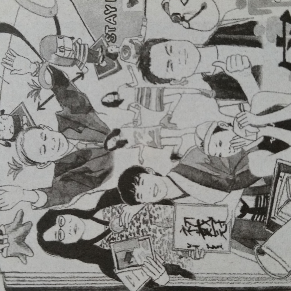 今日の新聞にあった今年の振り返り的なイラストの一部ですが ニジウ?の左上の女性と右下の男性は誰ですか?