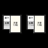 引き戸玄関について教えてください。 仮に下の図のように、家の角ぎりぎりで逆L字型に引っ込んだ部分に玄関を配した場合、両引き戸、または片引き戸にすることは可能でしょうか。 角は壁を少なくとも910確保しな...