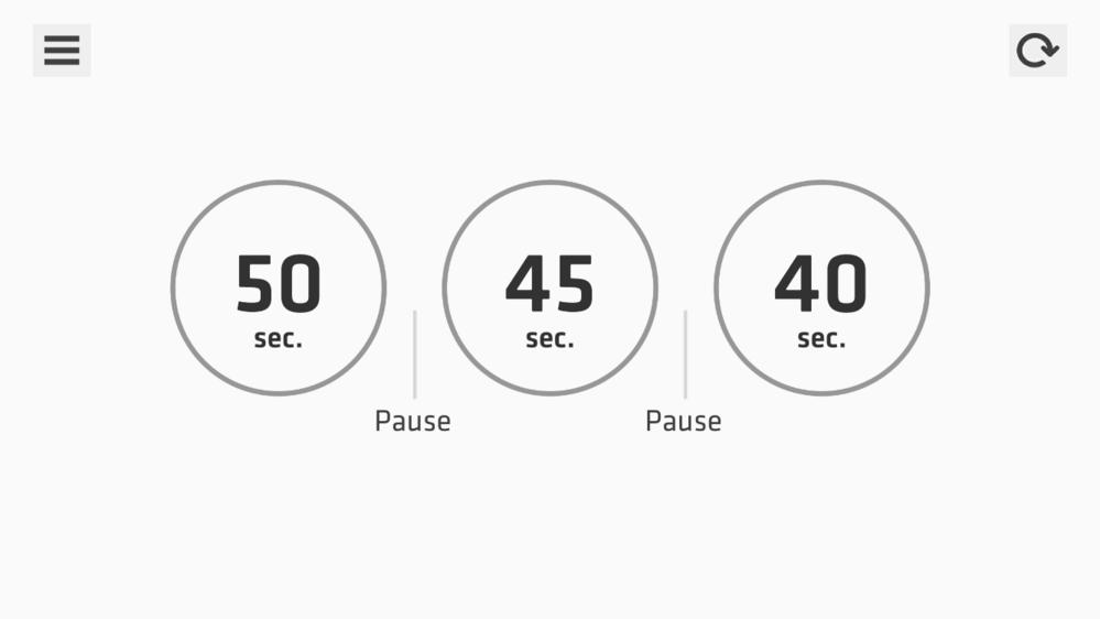 プランクパッド アプリを入れ30日チャレンジをしています。 画像のように1日3回に分けプランクするのですが、時間が経過すると終わったはずの一回目がリセットされてしまいます。 例えば朝50秒の1度...