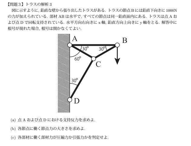 トラスの問題です 静定トラスしか習っておらずこの問題が解けません。 両方ピン支持のため、支持反力を求めようと水平鉛直方向の力のつり合い、モーメントのつり合いを活用しても支持点における鉛直方向の反...