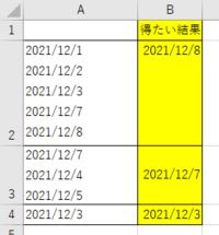 vba セル内で改行された日付の中で最大値を取得するコード 添付のようにa列に日付のデータが入っており、 最大値をb列に表示したいのですが、 vbaのコードで可能でしょうか。  ご教示お願いいたします。