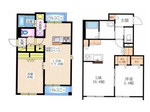 不動産、住宅にお詳しい方、アドバイスをください。 以下2件の部屋の内、間取りはどちらが良いと思いますか?