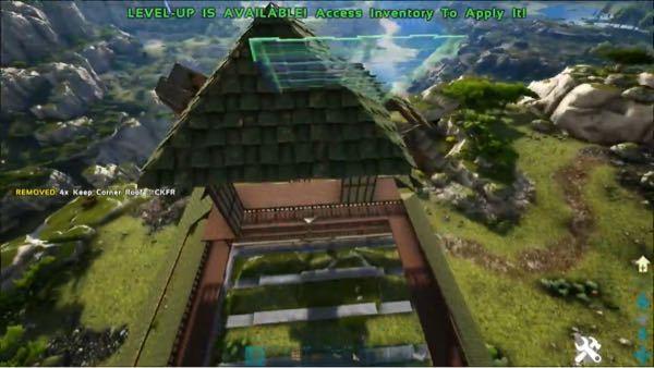 ps4 アークの建築についてです。 四角錐の形の屋根を作り方についてです。 とんがったやつです。 なんとなくで作ってみたのですが、どうしても傾斜の角が羽が生えたようになってしまいます。 傾斜屋...