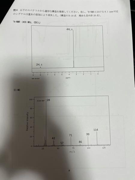 プロトンNMRに関する問題について質問です。 写真に示したプロトンNMRとEI-MS、そして、写真には載せきれなかったIRには1710カイザーにピークが見られました。 この問題の答えは、2.5-...