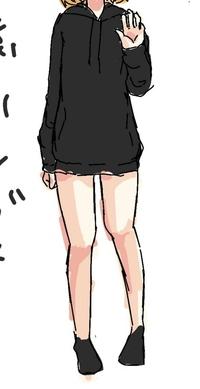 下描きなんですけどアドバイス欲しいです。  普段は胸から上の絵しか描いてなかったのですが、初めて全身の絵を描きました。 自分の体や資料を見て描いてみたんですが、脚の描き方が難しくて、、  1、直した方が...