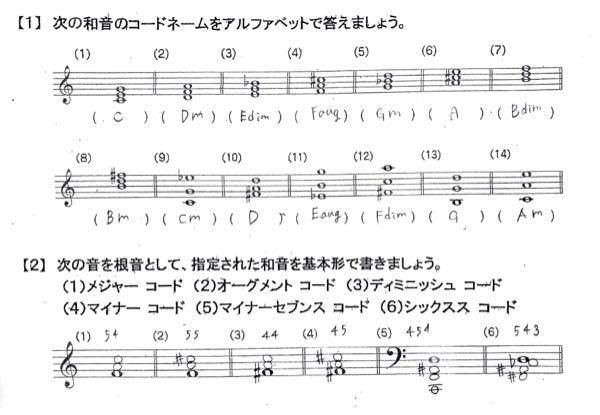 音楽のコードについてです。 下の問題が合っているか教えて欲しいです! よろしくお願いします。