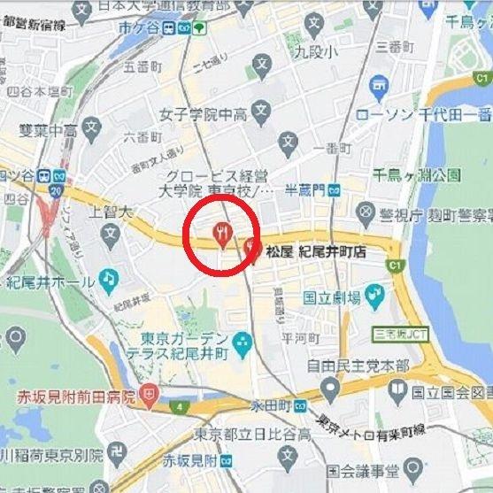 画像の赤い丸は、東京都千代田区麹町4-1-5 麹町志村ビルにある松乃屋です。 朝定食はご飯と味噌汁がセルフサービスでおかわり自由のようです。 ・ ここで麹町の松乃屋さんで食べたことがある方に質問...