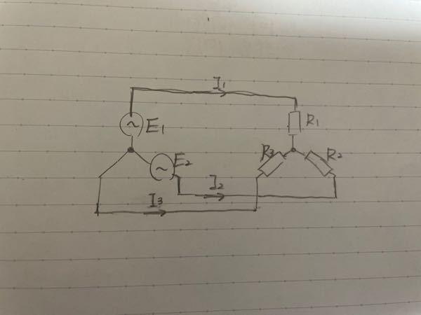 この回路で、電流則、電圧則で式を作ってください。 お願いします。